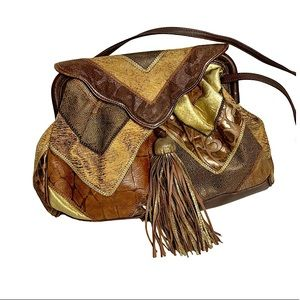 Vintage Italian Leather Patchwork Purse Brown Gold
